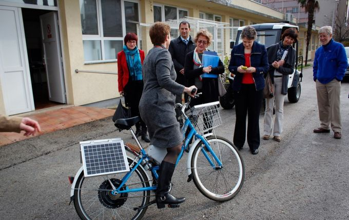 Riding on a solar powered bike