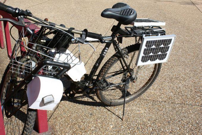 A black solar bike