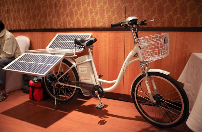 A solar powered bike model