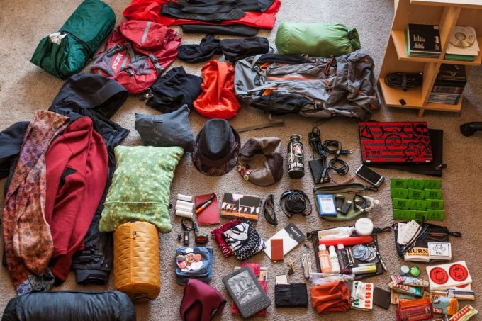 backpacking and preparing layers of clothes