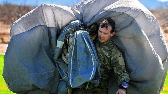 tent on mans back