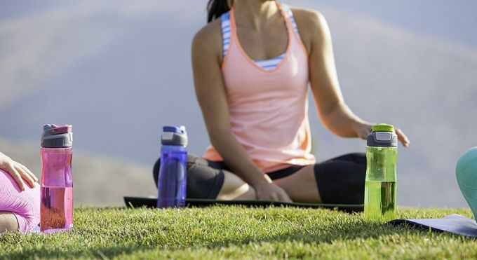 yoga and water bottle