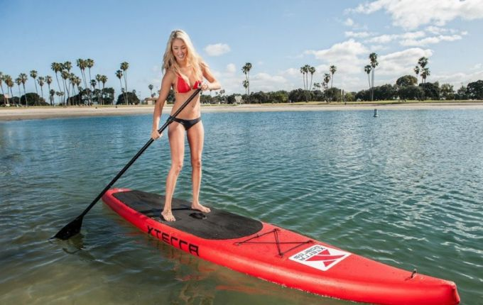 """XTERRA Inflatable 10' Stand Up Paddle Board Premium SUP Bundle   Includes Board (6"""" Thick) , Pump, Adjustable Paddle, Easy Carry Backpack, Ankle Leash and Repair Kit"""