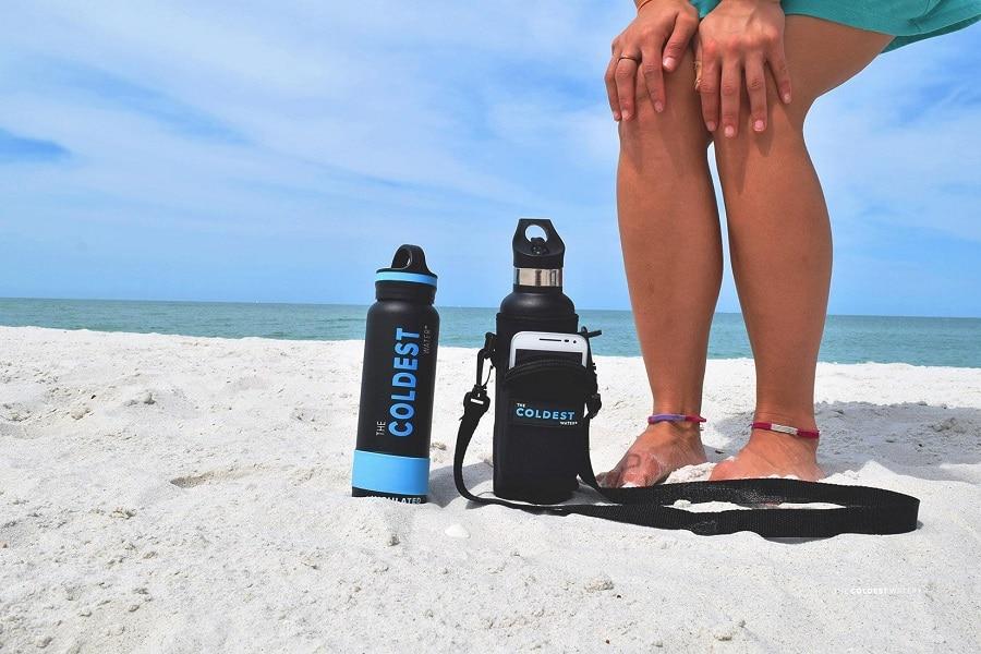 Water bottles on the beach