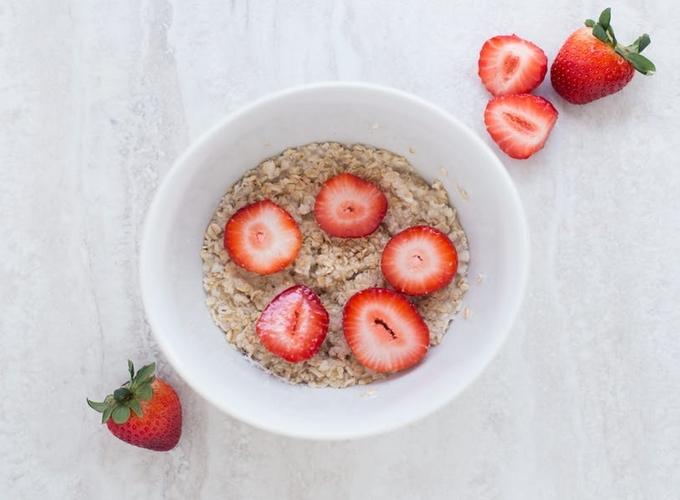 Strawberry oatmeal for breakfast