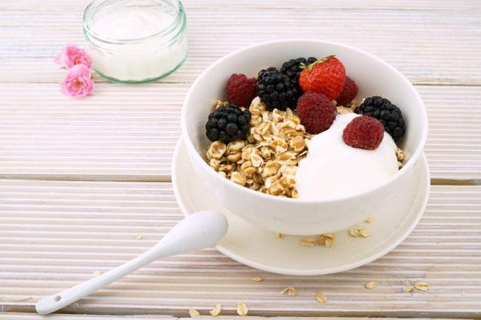 Fresh fruit, yogurt and milk