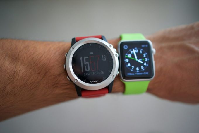 GPS watches on a man's hand
