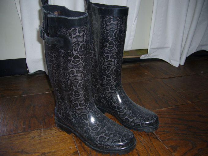 Black rain boots on the floor