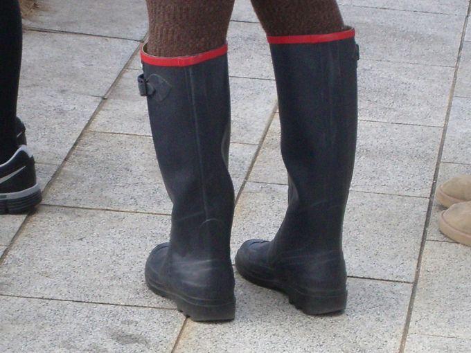 Black colored rain boots