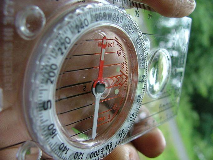 Silva compass held in hand