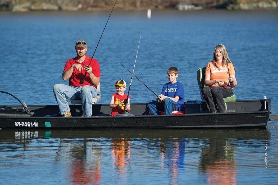 Family camping fishing