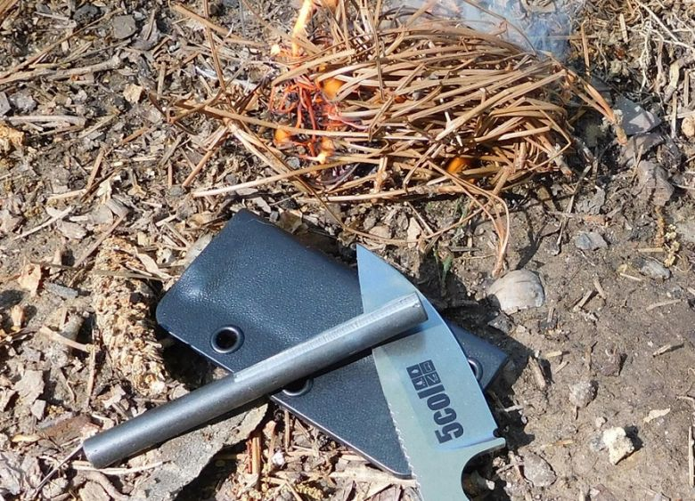 Fire starter with knife