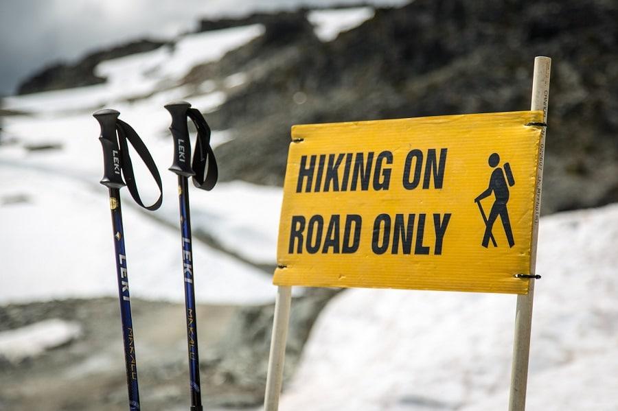 Hiking poles on road