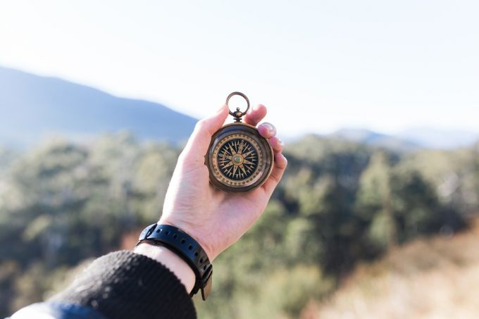 Macro Compass Adventure Hand Outdoors Mountain