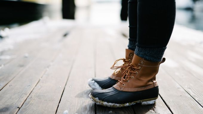 Image of a woman wearing a pair of new winter boots
