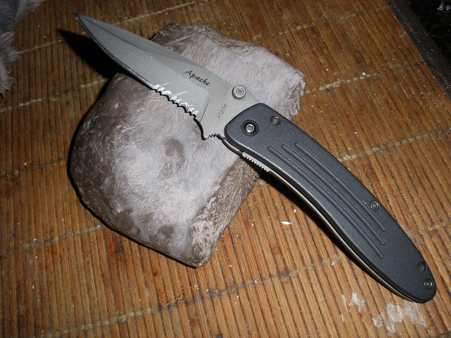 Tactical knife rock sharpening