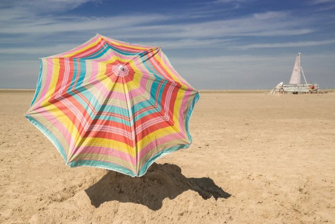 Umbrella with UV protection on a sunny day