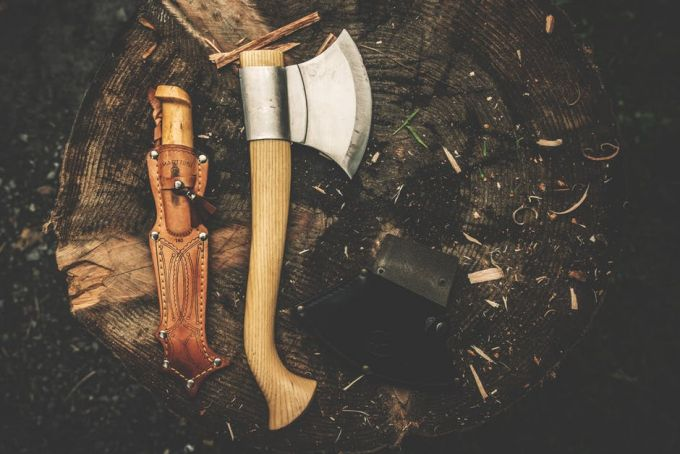 knife covering and an axe