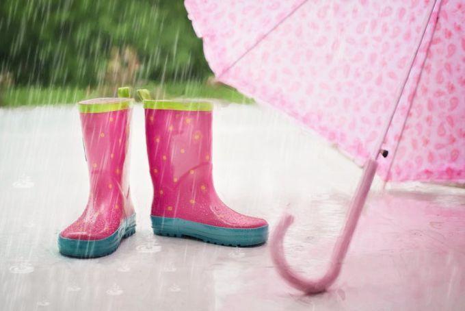 Rain boots and pink umbrella