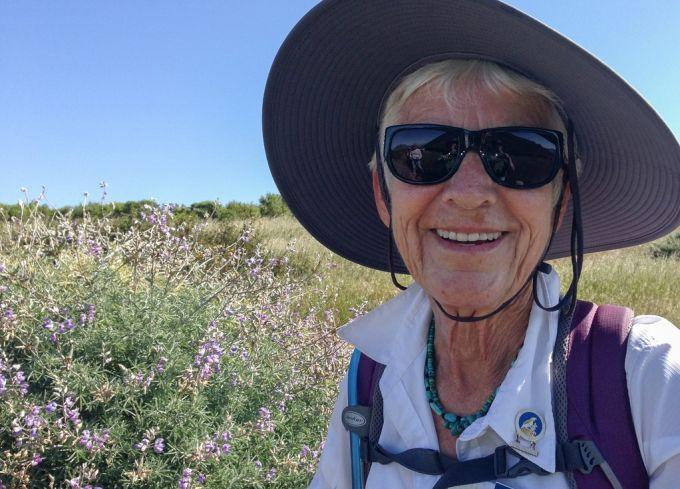 A hiker wearing a hat