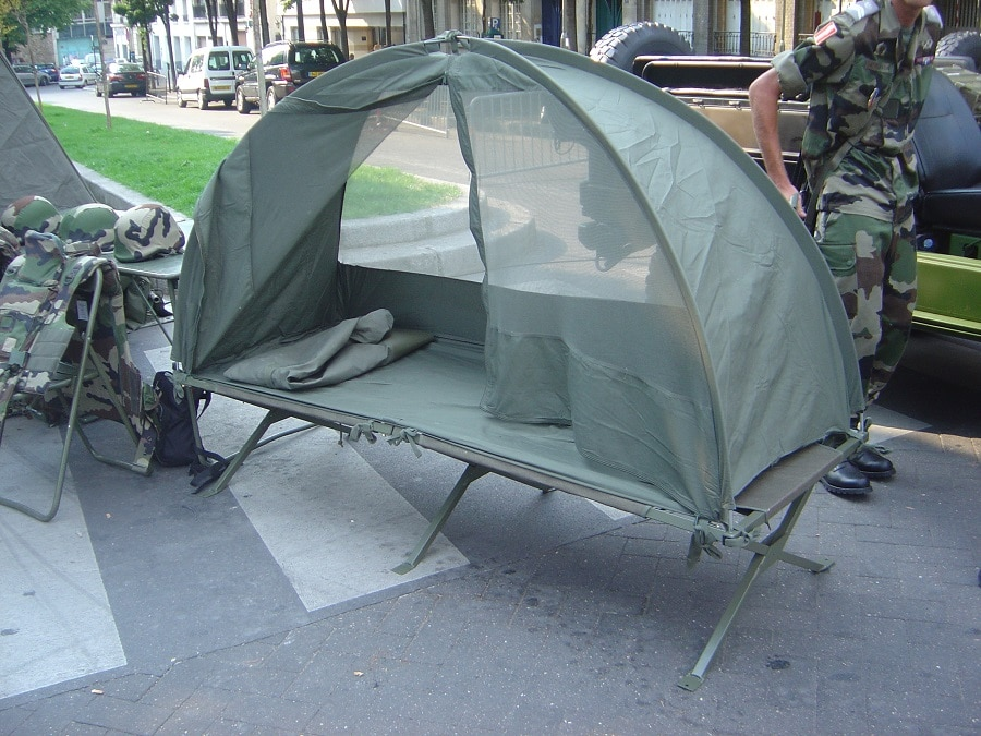 Camping cot with tent