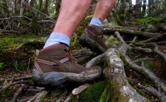 Image showing a man climbing the hill in Keen Targhee II Mid WP Hiking Boots