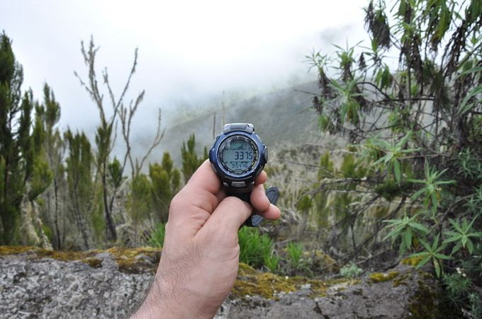Hiking with compass watch
