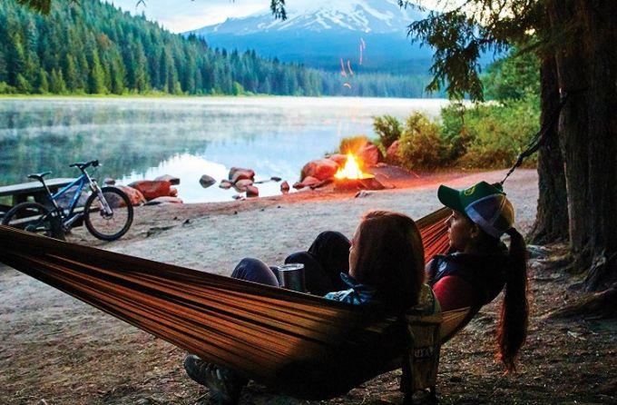 camping hammock near lake