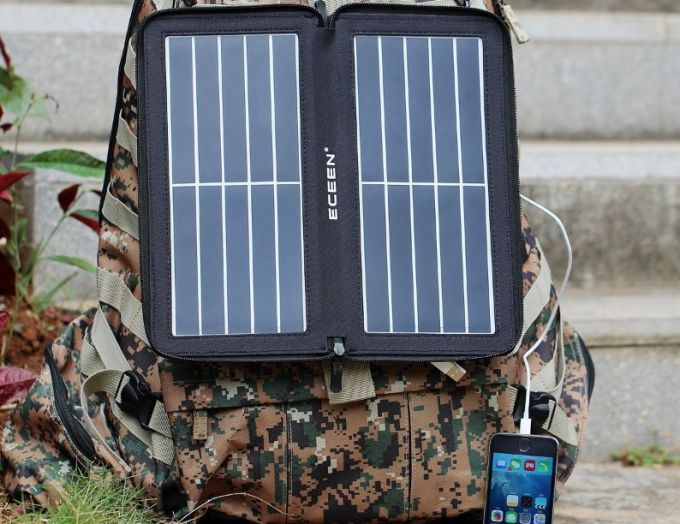 solar panel on a backpack