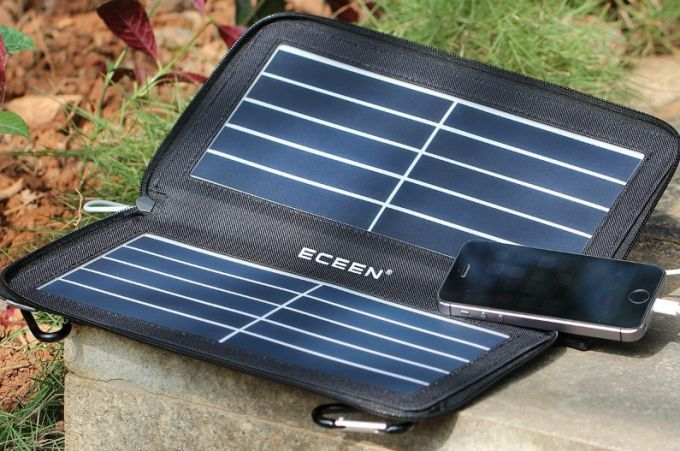 phone charging on a portable solar panel