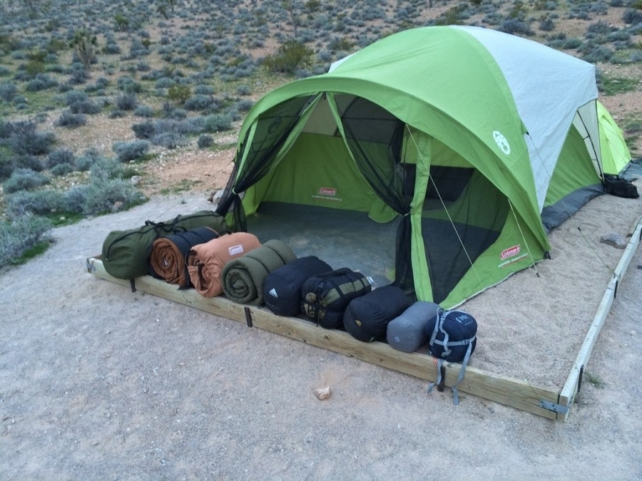 Sleeping bags in front of the tent