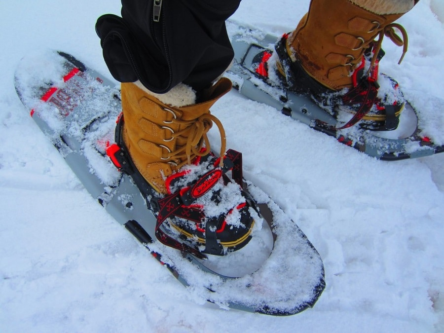 Snowshoes on the boots