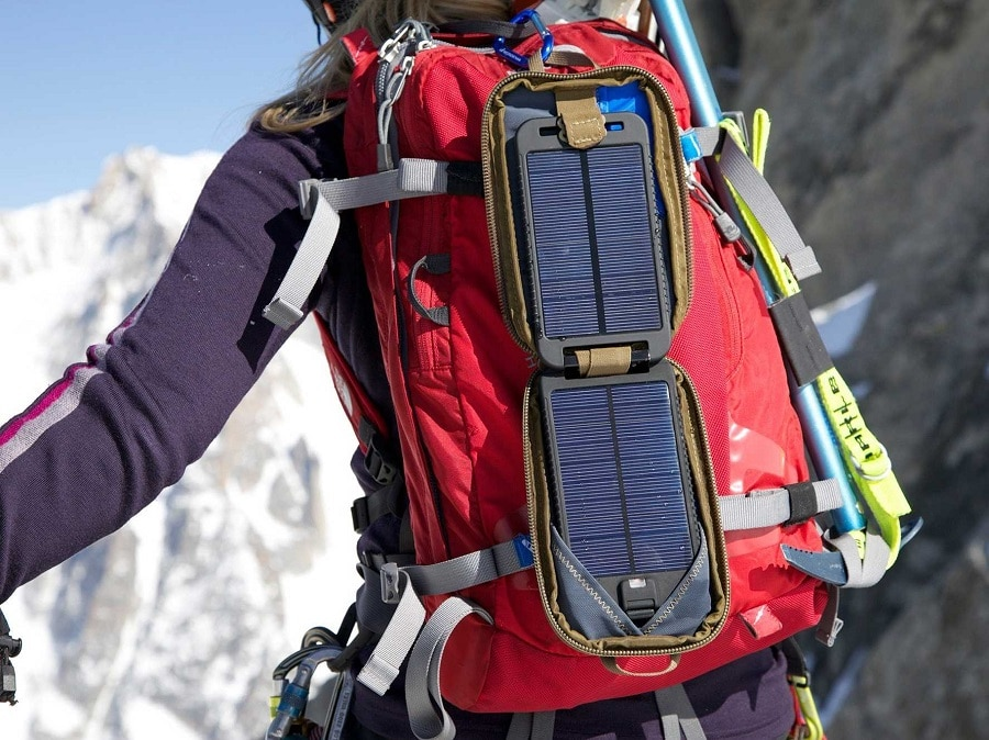 Solar panel on the backpack