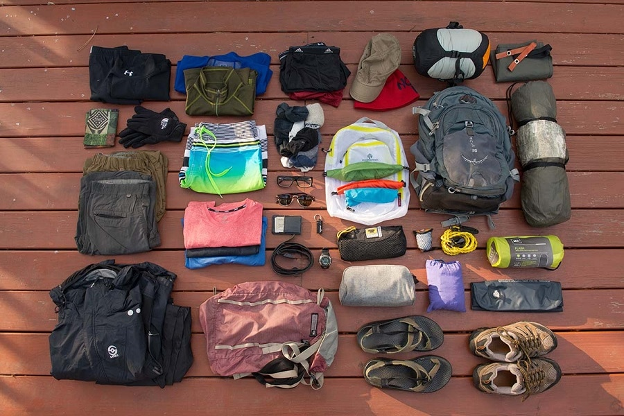Summer camping clothing and footwear