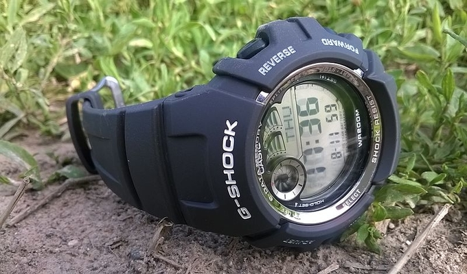 G-shock compass watch on the ground