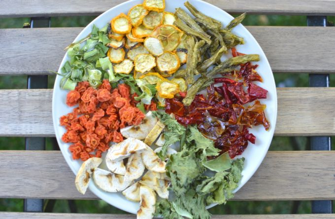 dehydrating vegetables in a plate on the table