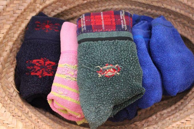 Hiking socks on the inside of a hiking hat