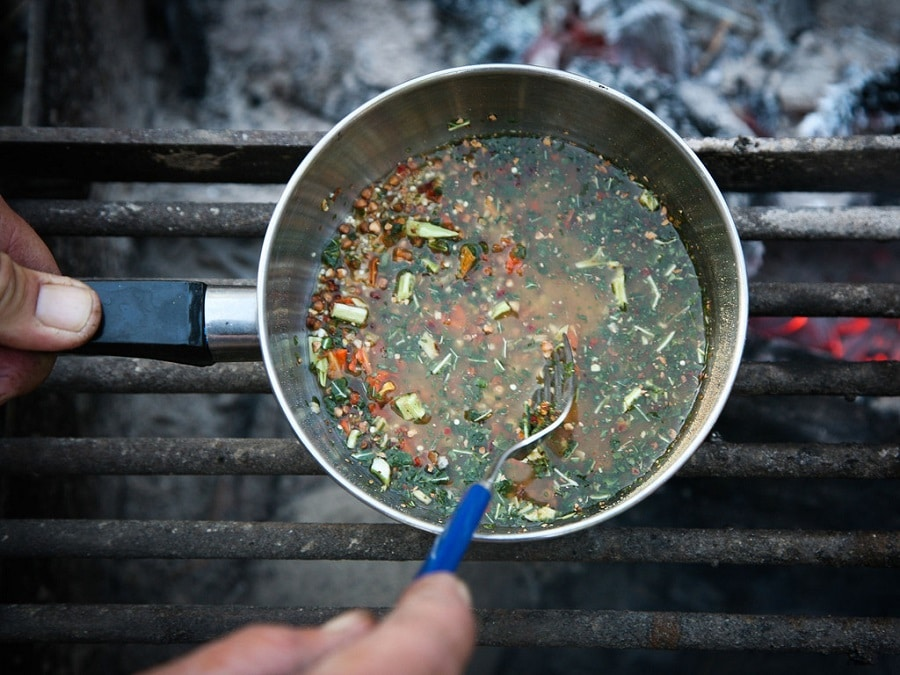 Camping organic soup