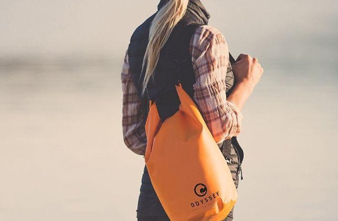 dry bag on girls back