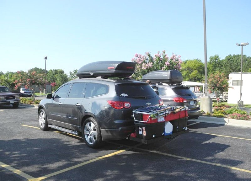 Car top carriers on the cars
