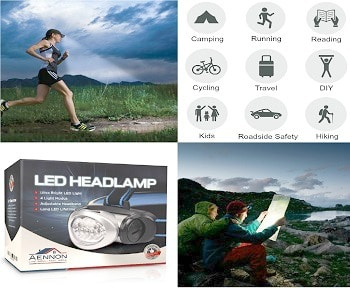 Headlamp Flashlight with Red LED Light