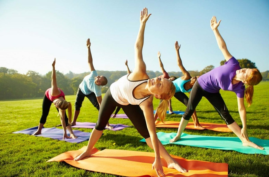 Outdoor yoga features