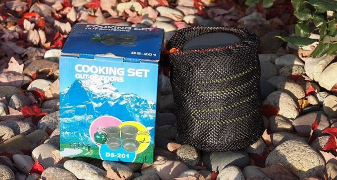 camping cooking set in a bag
