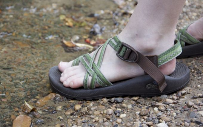 green and brown sandals