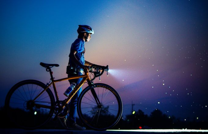 bicycle with light in the dark