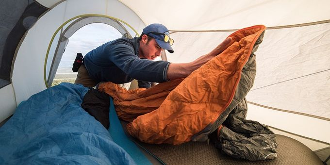 sleeping bag in solo tent