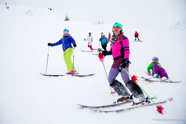 Girls rocking ski boots
