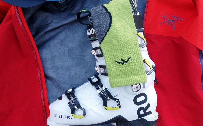 Hanging ski socks