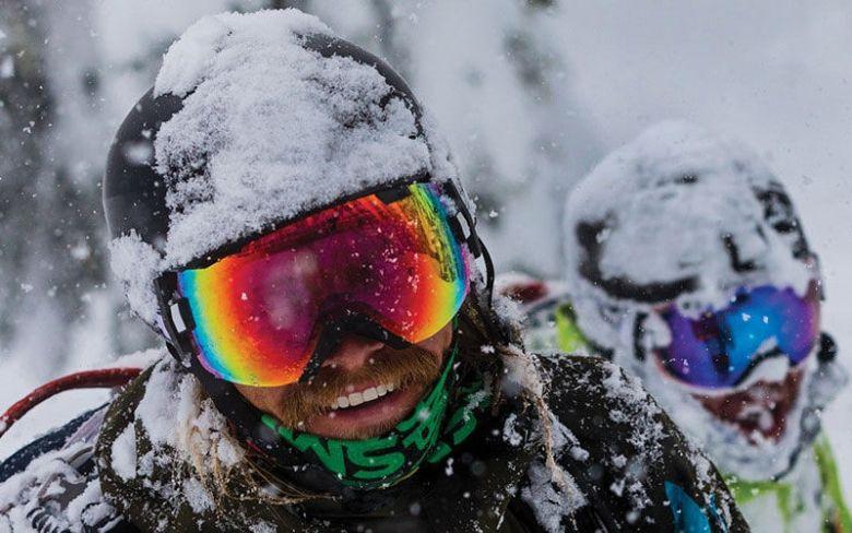 Multi-colored snowboard goggles