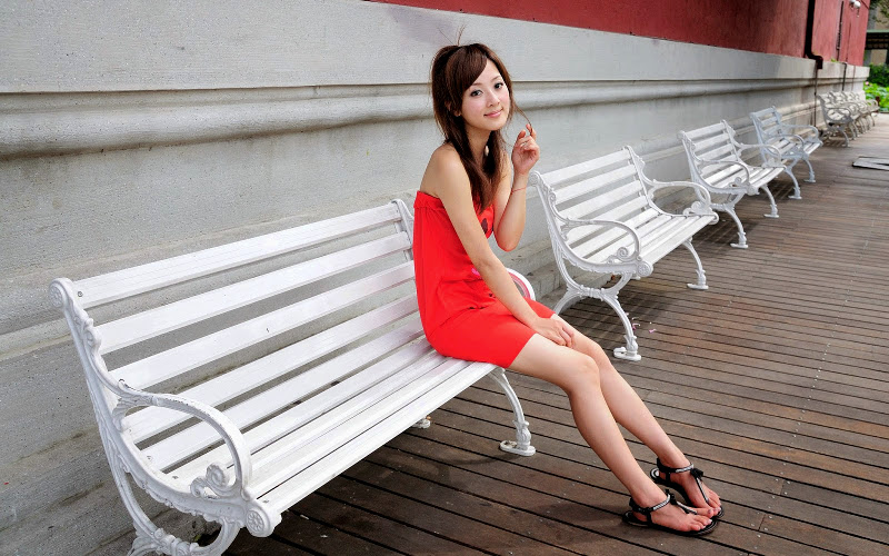 Sandals and red dress